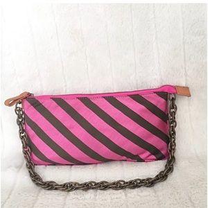 J.Crew Silk Wristlet Clutch Chain Strap Pink Brwn